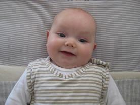Poppy in her cot