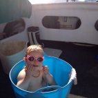 Bathtime ... with glasses!