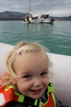 Poppy in the dinghy