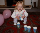 Poppy with her Peppa cups