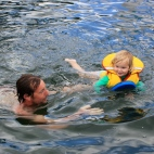 Swimming with her Dad