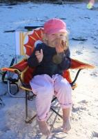 Poppy loving her chippolata