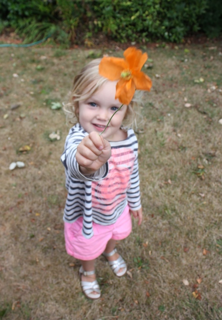 Poppy with her Poppy flower