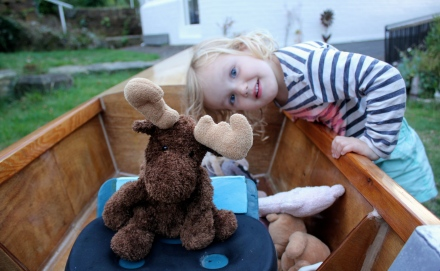 Moosey at the helm