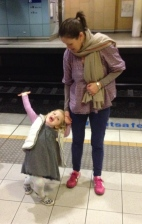 Catching Poppy's first train
