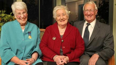 Descendants of Mercury founder John Davies, from left, Margaret Davies, sister Josephine and brother John, can recall their childhood days when three copies of the paper were delivered to their home.