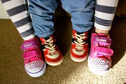 Poppy and James' new shoes