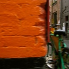 Poppy's perspective of ... a gorgeous orange brick wall in Little Bourke Street