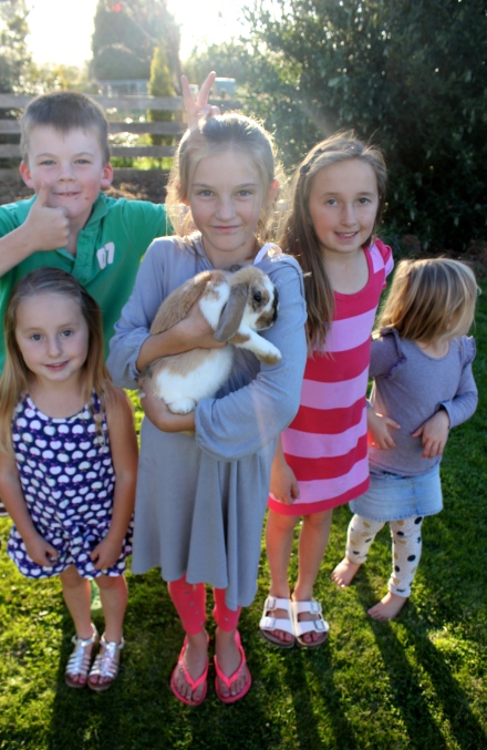 The cousins and their bunny