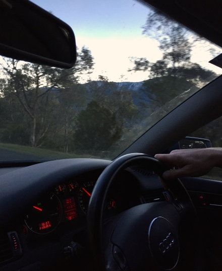 Driving to the mountain