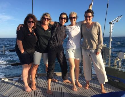 The crew passing Swan Island