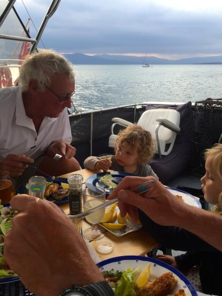 Dinner on the flybridge