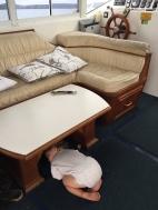 He'll sleep anywhere!