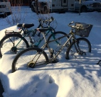 Bikes bogged in snow
