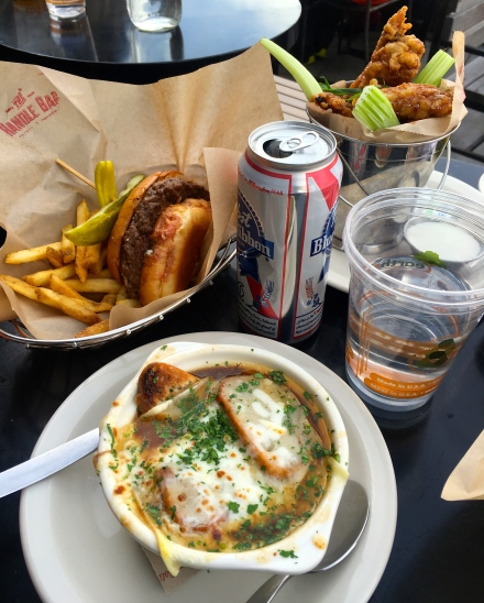 French Onion Soup, Burger and PBR's